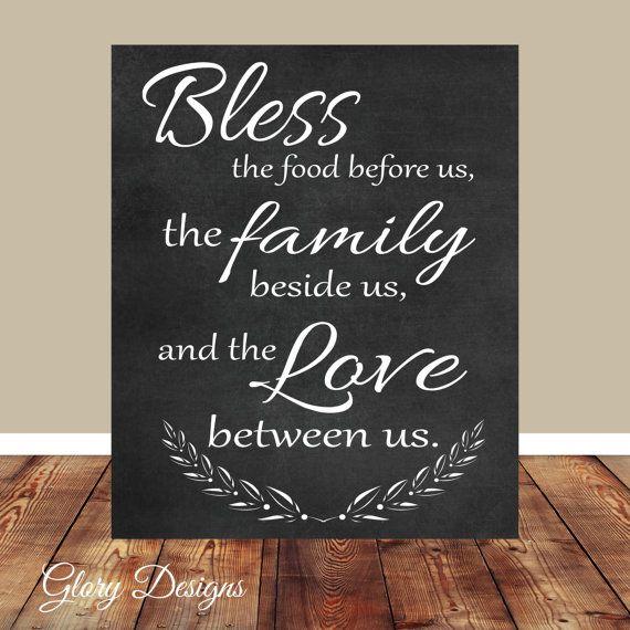 Kitchen Blessing Wall Decor: Printable, Kitchen Printable, Family Blessing, Chalkboard