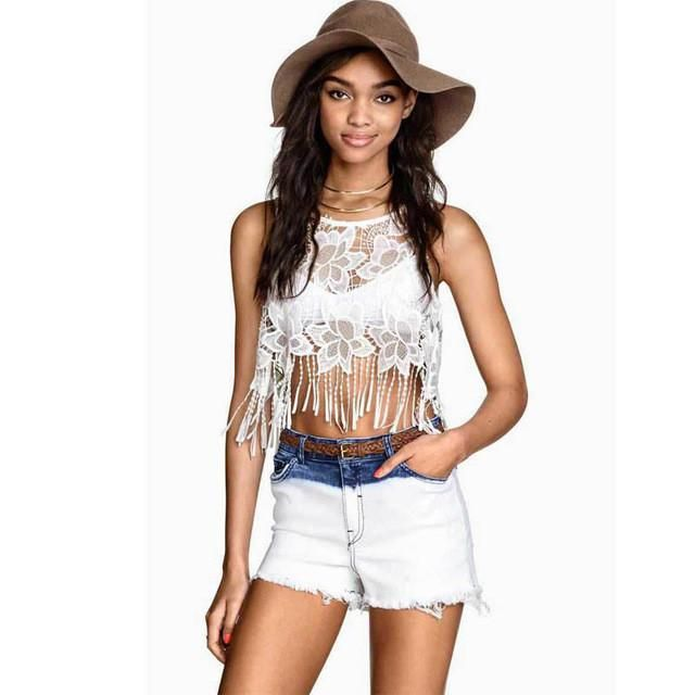 Cheap top sexy, Buy Quality top for directly from China lace tank top  Suppliers: Fashion Women Tassel Crop Top Sexy Lace Tank Top White Bohemian  Tops For ...
