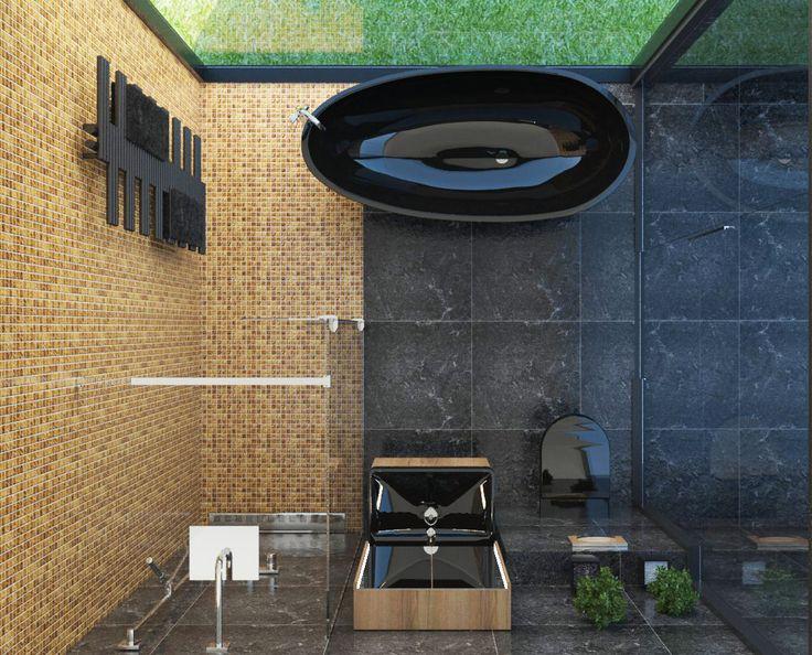 #black #goldmosaic #modern #bathroom on Behance