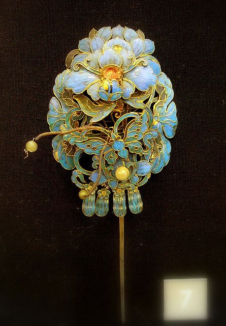 Hair ornament, silver gilt and enamel, China, 19th century.