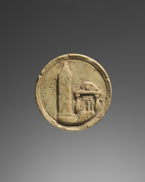 Ivory Token.  2nd C.obelisk and building at Nikopolis, a suburb of Alexandria in Egypt. with Roman numeral III on back