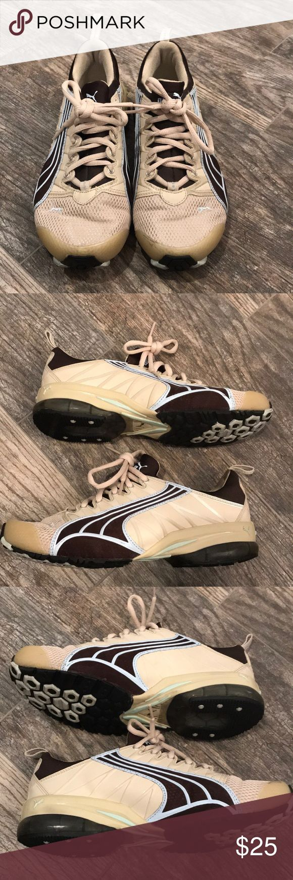 Puma tennis shoes Puma tennis shoes size 7.5 tan brown and baby blue. Excellent condition hardly worn. Tong is attached like a sock fit tennis shoe. Clean smokefree home. Only worn a couple times Puma Shoes Athletic Shoes