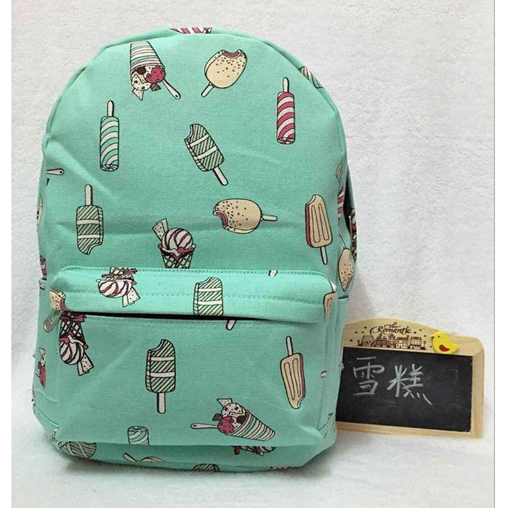 cartoon cute ice cream backpack canvas printed shoulder bag student boys girl Book bag