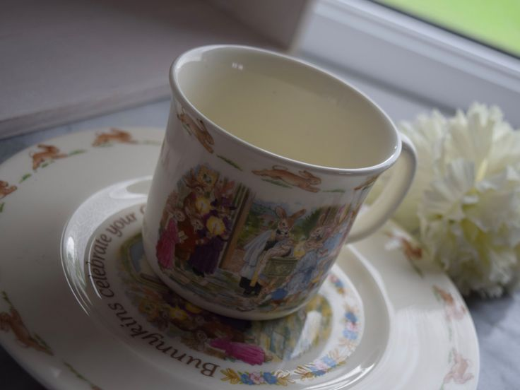 """Royal Doulton Bunnykins c1988 collectable bone china christening celebration cup and plate """"Bunnykins celebrate your Christening"""" by BitsnBobsnKeepsakes on Etsy"""