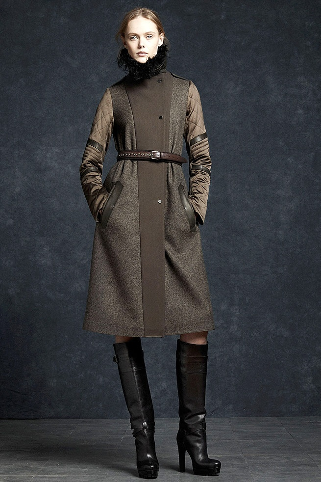 Wool tweed coat with quilted sleeves