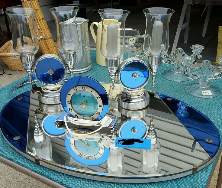 30's Art Deco Telechron Electric Clock Mirror Lamps Jacques Bars Luxor Set RARE | Antiques, Periods & Styles, Art Deco | eBay!