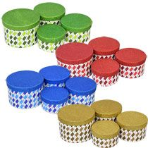 bulk glittery assorted round nesting gift boxes at gift bags