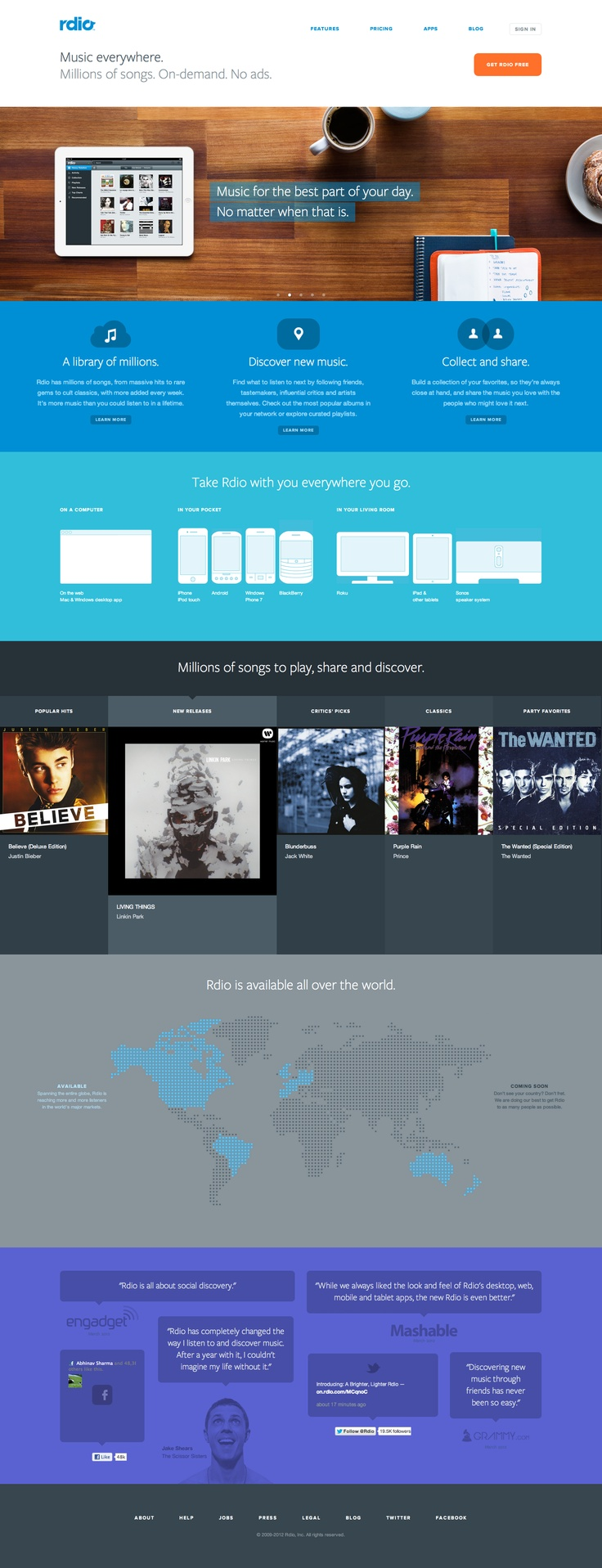 Rdio's new homepage.