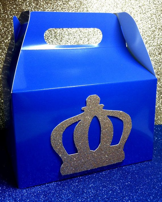 12 Royal Crown Prince Party favor gable gift or goodie boxes for birthday baby shower wedding bachelor party in variety of colors 12 count engagement bachelor twins bachelorette anniversary 1st birthday one onderland princess gender reveal quinceanera wedding bride groom treat boss goody bags favor boxes