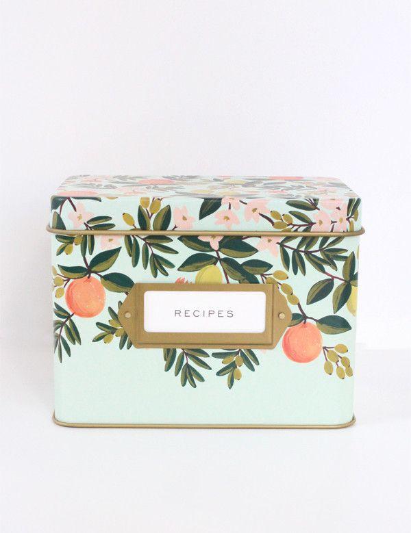prettiest citrus floral tin recipe box $34