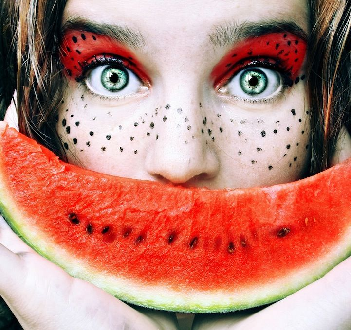 Fruity self-portrait: Fruit, Self Portraits, Happy Colors, Cristina Butte, Makeup Art, Tutti Frutti, Food Photo, Tuttifrutti, Eye