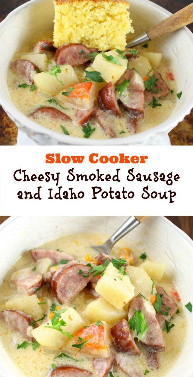 Slow Cooker Cheesy Smoked Sausage and Idaho Potato Soup Recipe found at MissintheKitchen.com