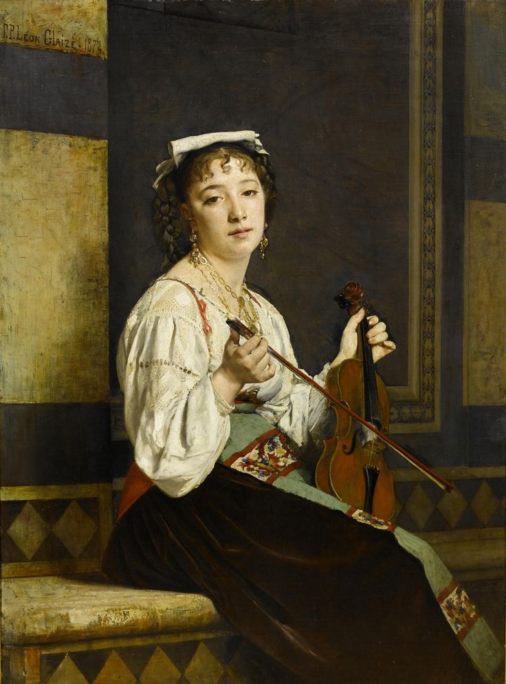 Italian Musician (1874). Pierre-Paul-Léon Glaize (French, 1842-1932). Oil on canvas. Exhibited Chicago, Exposition de Chicago, no.812 (as Lucia Italienne).