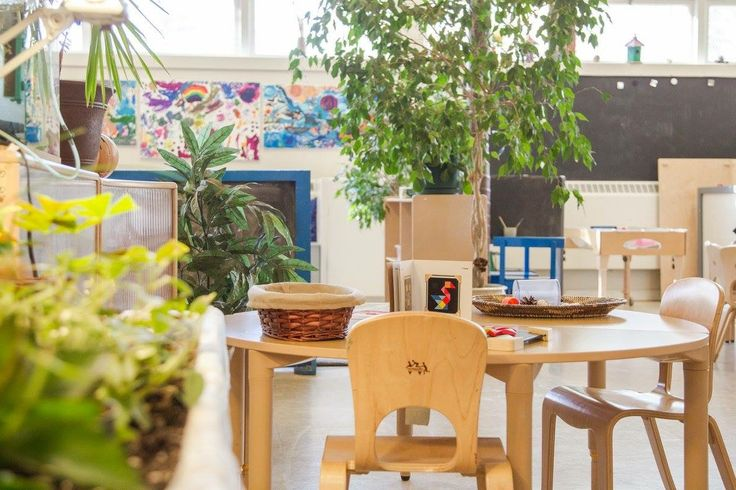 our classroom with lots of natural light and real plants (and indoor garden)