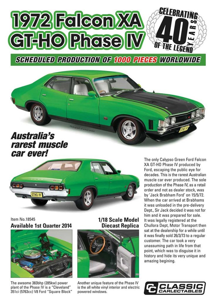 Classic Carlectables promotional poster for 1:18 model of the sole production Ford Falcon XA GTHO Phase IV