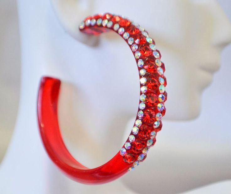 """2.5"""" CLEAR RED RHINESTONE HOOP EARRINGS (Side & Middle Sm AB Stones)SKANKY HOOPS #Unbranded #Hoop"""