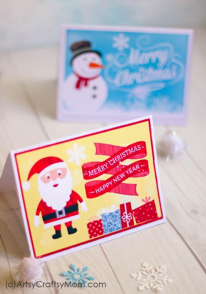 2 Free Printable Christmas Cards – Print at home   Kid Blogger ...