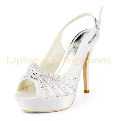 Ivory Beaded Satin P Toe Slingback Wedding Shoes