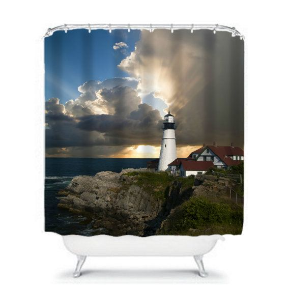 nautical lighthouse shower curtain art by on etsy