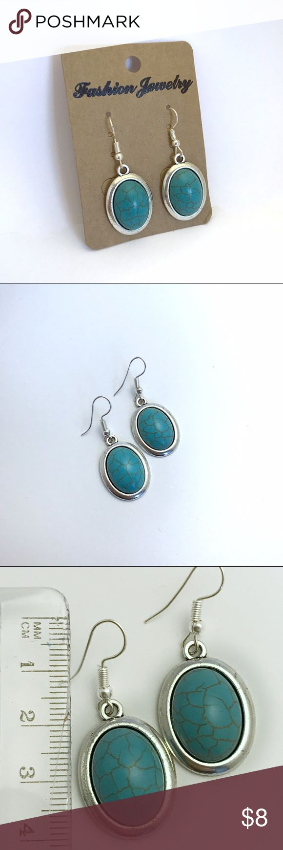 Silver & turquoise drop earrings Simple and chic style turquoise look, NWT boutique item! items come all safely packaged🎁 from my smoke 🚭free home Jewelry Earrings