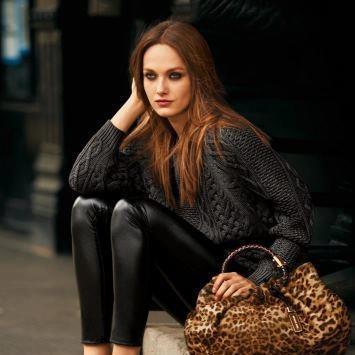 Leopard print purse, leather leggings (Michael Kors)