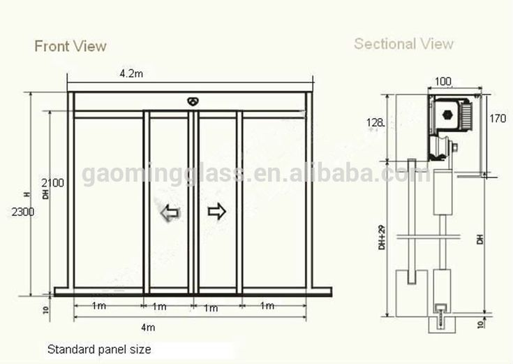 Automatic single tempered glass sliding door gm ad1405 for Single sliding patio door