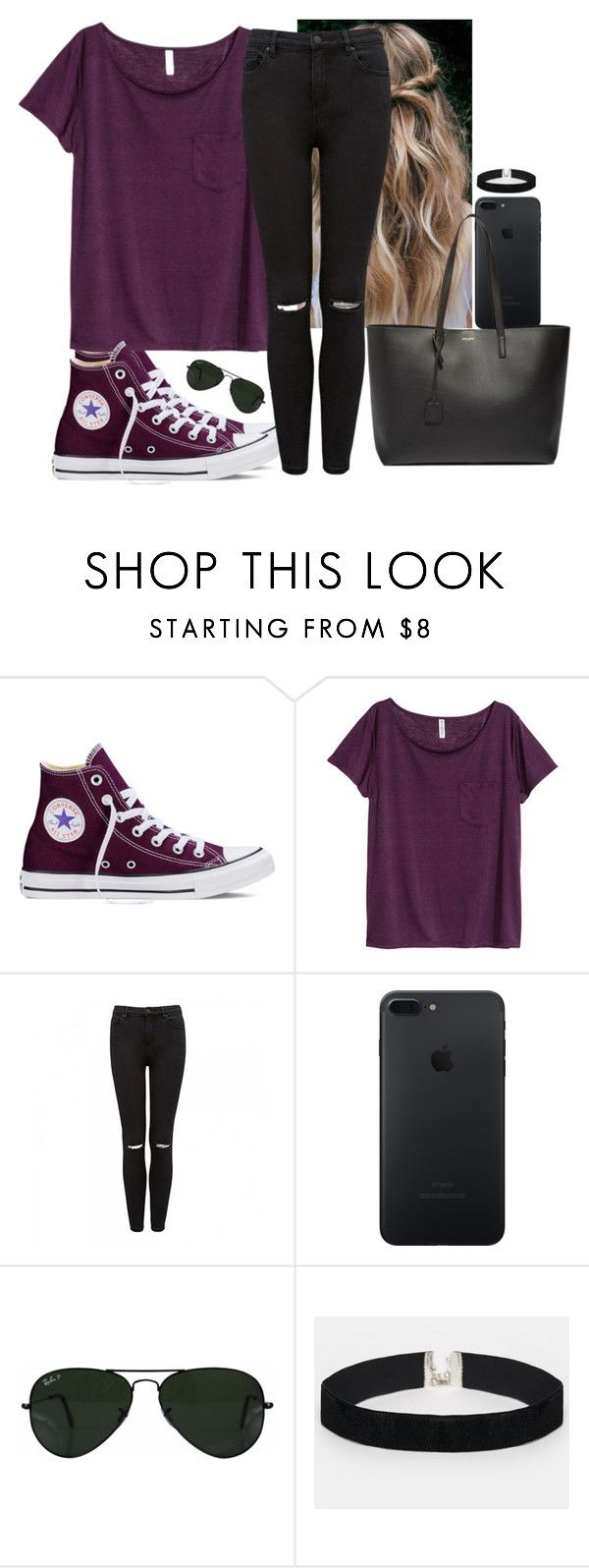 """""""What does love mean💙?"""" by hannahmcpherson12 ❤ liked on Polyvore featuring Converse, H&M, Forever New, Ray-Ban, ASOS and Yves Saint Laurent"""