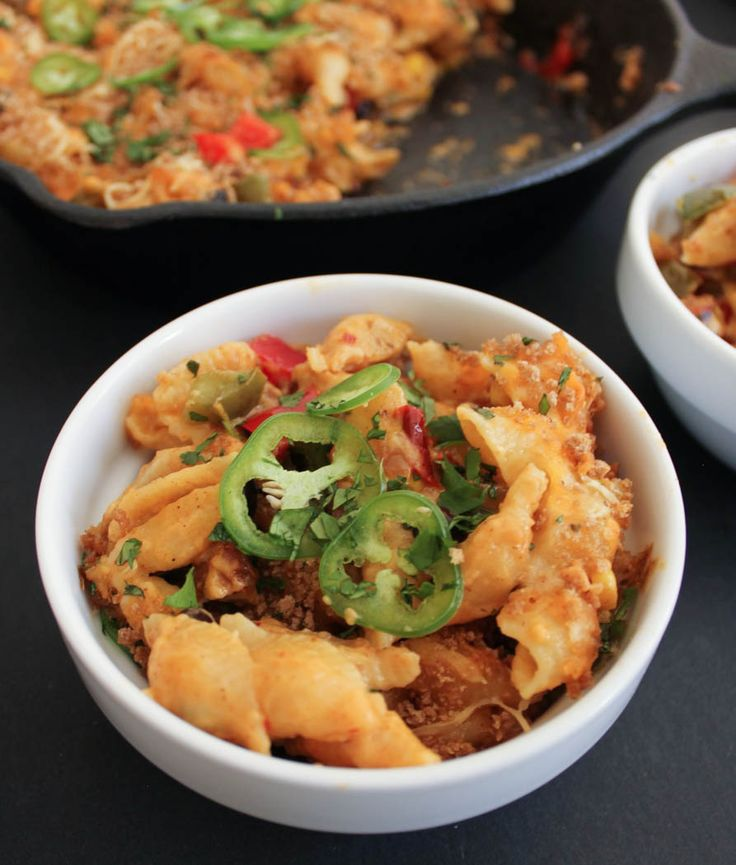 Mexican Mac and Cheese. Fully loaded mac with black beans, corn, peppers, jalapeños, chorizo and chipotle-laced cheese sauce.