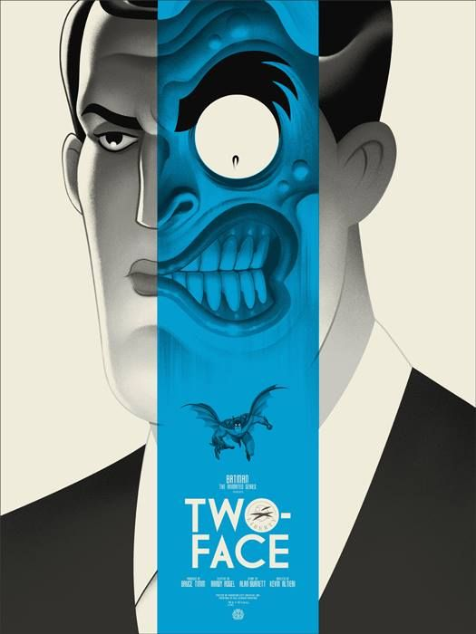 """Batman '66 (Variant) by Martin Ansin 24"""" X 36"""" Edition of 175 Two-Face (Regular & Variant) by Phantom City Creative / Tumblr 18"""" X 24"""" Edition of 275 and 175 respectively. Available from Mondo HERE."""