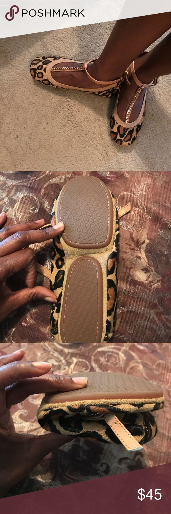 Never worn new leopard print foldable ballet flats What's a girl to do when her heels  start to hurt??? She better have her ballet flats in her purse. never worn foldable ballet flats. Stylish leopard print. Comes with carrying bag and in box. Yosi Samra Shoes Flats & Loafers
