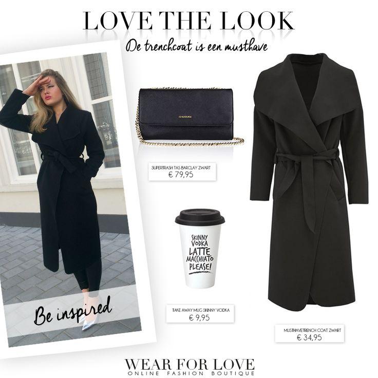 Love the look? Shop hier> http://www.wearforlove.com/nl/3-kleding  Met dit weer is een trenchcoat een absolute must-have. De trenchcoat is dé perfecte jas voor de herfst. #fashion #trend #brands #inspiration #look #fall #2015