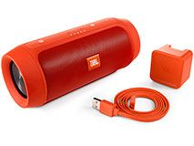 JBL CHARGE2+ I like it. The renewed JBL Charge 2+ is an ultra-powerful, ultra-big-battery portable Bluetooth speaker with high-quality stereo sound. Revamped with fresh styles and a splashproof design, the Charge 2+ takes the party everywhere – be it poolside or dancing in the rain – and amplifies the excitement with JBL Bass Radiators. The speaker is powered by a 6000mAh battery that provides an incredible 12 hours of playtime.
