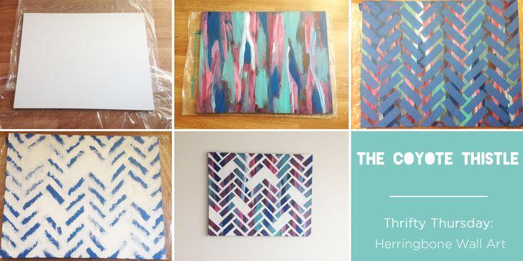 Herringbone Painted Canvas DIY thecoyotethistle