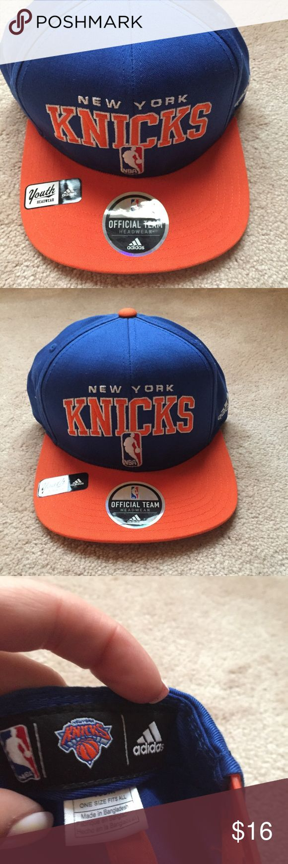 New York Knicks Adidas SnapBack ✔️ one size fits all youth New York Knicks hat ✔️ EUC ✔️ still has all original stickers on it adidas Accessories Hats