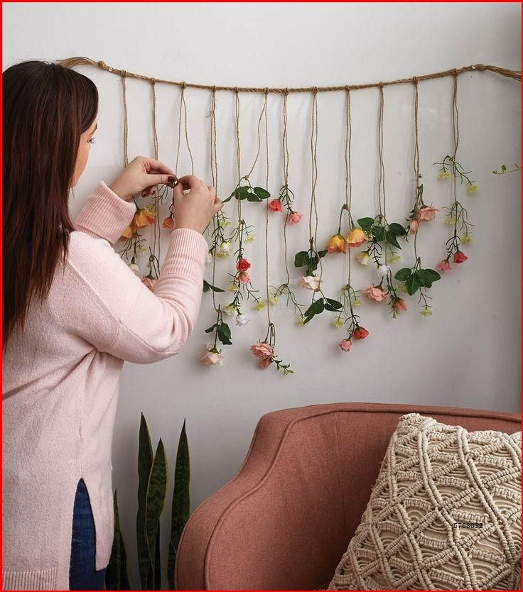 Bookcase Bookshelf Wooden Decorative Design Special Process Triple Rope Shelf Bookcase Bookcase Wood Bookcase Shelf Floral Bedroom Floral Room Hanging Wall Decor Flower wall decor for bedroom