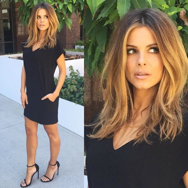 "Maria Menounos from E! News Look of the Day  ""Today's fashion:Dress: @blaquelabelShoes: @stuartweitzmanGlam: @nikimetzzz @giannetos @deniseborrego"""