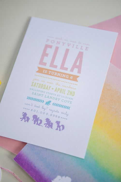 My Little Pony Invitations | Designed by Orange Paper Shoppe | Photo by Kristina Lee Photography