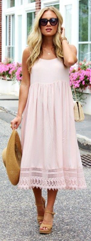 summer outfits  Blush Maxi Dress + Camel Pumps