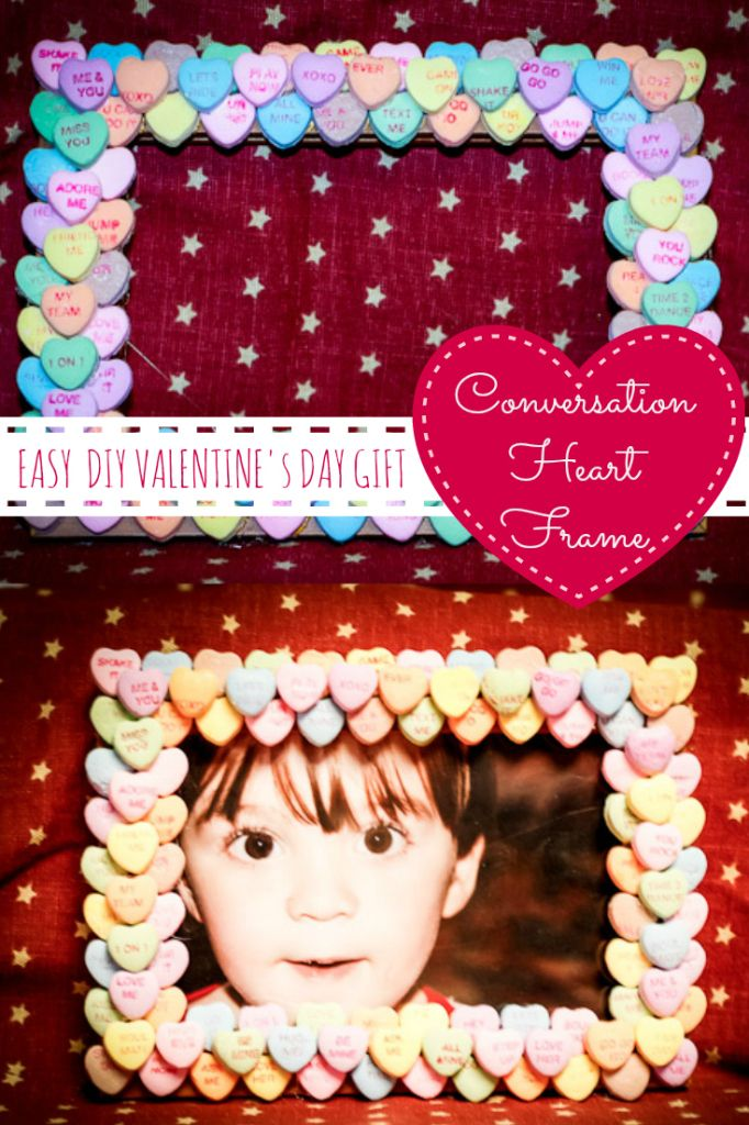 Easy DIY Valentines Day Gift DIY Conversation Heart Frame from www.naptimewarrior.com. Cute Valentines Day Craft for Kids or Alternative to a Valentines Day Card.