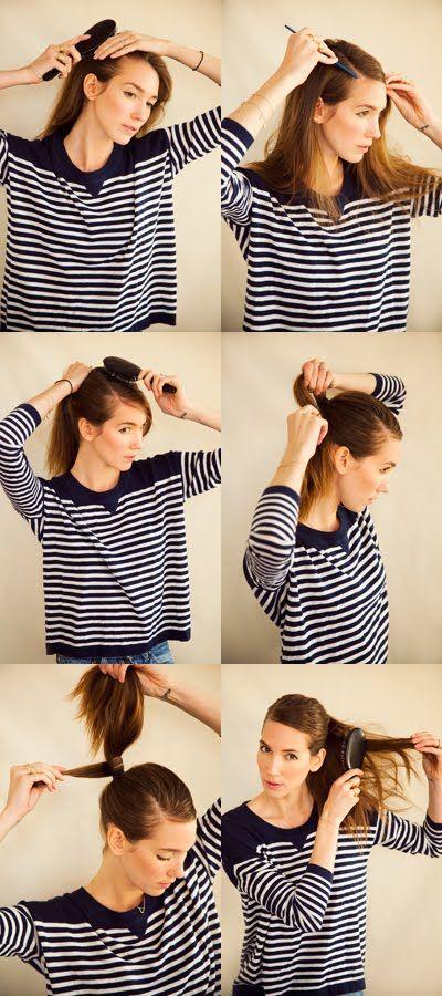 A CUP OF JO: Sleek parted ponytail: Hair Beautiful, Hairstyles, Hair Tutorials, Diy Hair, Cups, Hair Style, Side Ponytail, Ponies Tail, Sleek Ponytail