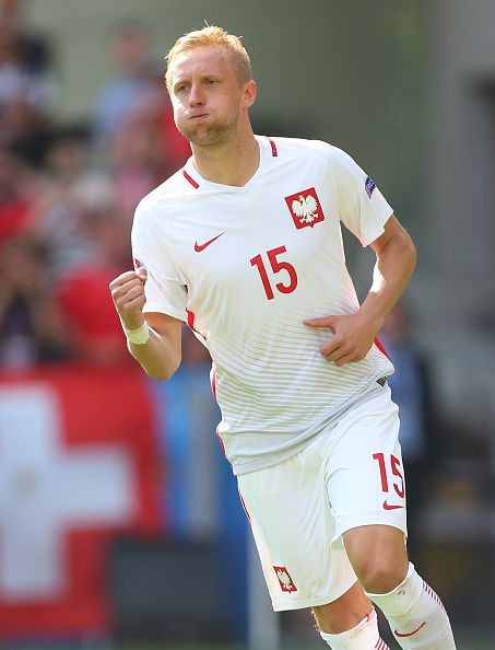 #EURO2016 Kamil Glik of Poland celebrates scoring his penalty during the UEFA EURO 2016 Round of 16 match between Switzerland v Poland at Stade...