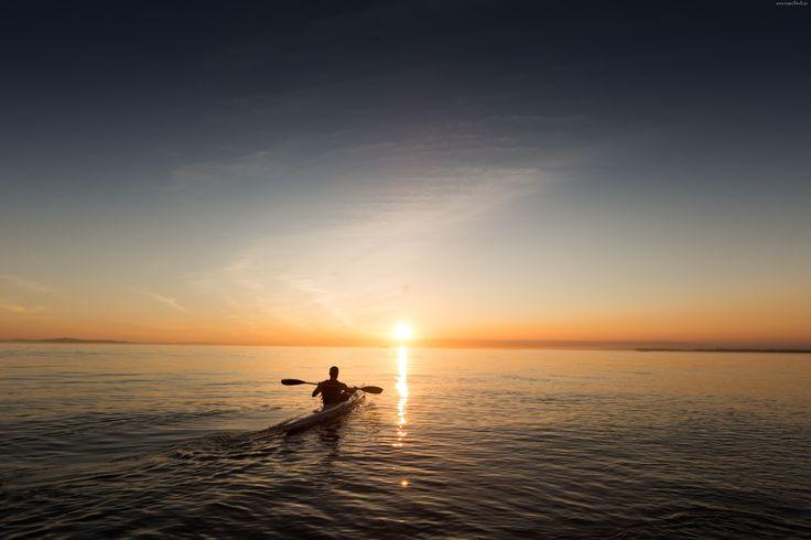 Morze, Zachód Słońca, Mężczyzna, Kajak