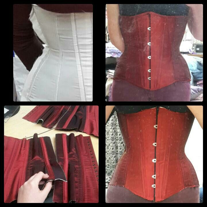 Underbust silk corset from toile version to finshed, then taken in and refitted