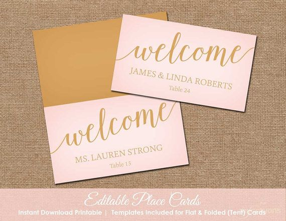 Blush pink wedding place cards printable editable for Wedding place name cards
