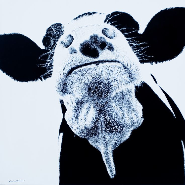 """in front2"", acryl ""pixel"", leinwand 80X80                                                     bernhard kaeser 2013 Acryl auf Leinwand , Kunst, malerei, Leinwand, painting, Cow, Kuh, Animal, Pixel, Real"