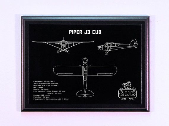 Piper J3 Cub Aircraft Engraved Blueprint by BlueFireEngraving, $28.00