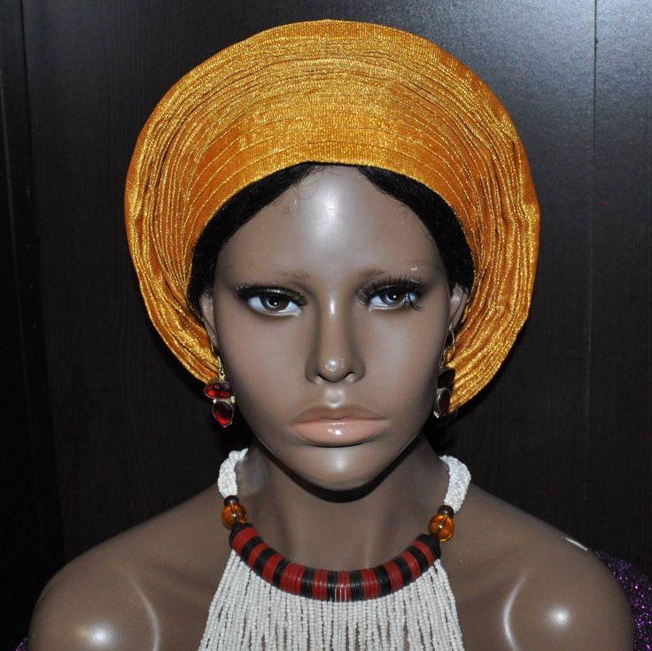 Custom order for Vivian- Pret-a-porter - Ready-to-wear African Multi pleats Round Aso Oke/Gele- Head tie - Gold by MonBoChapoHat on Etsy