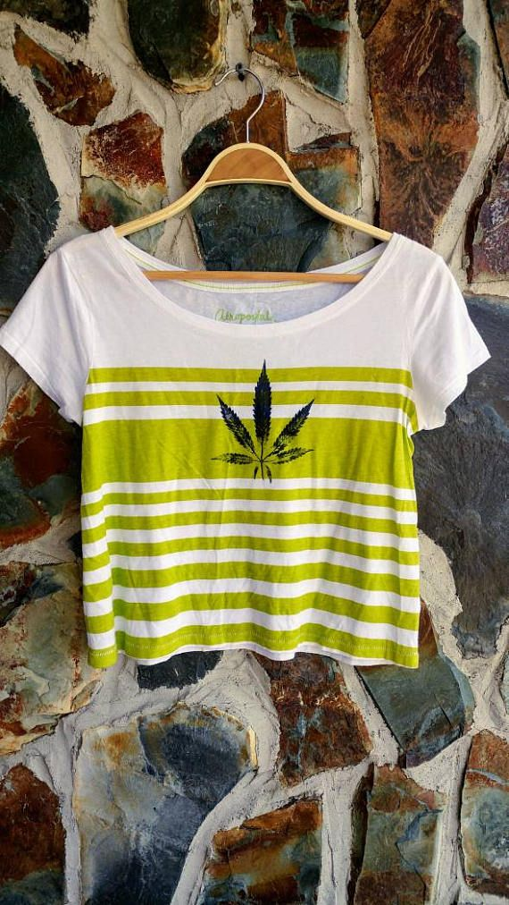 Cannabis Leaf Crop Top stripe green Handstamped upcycled.