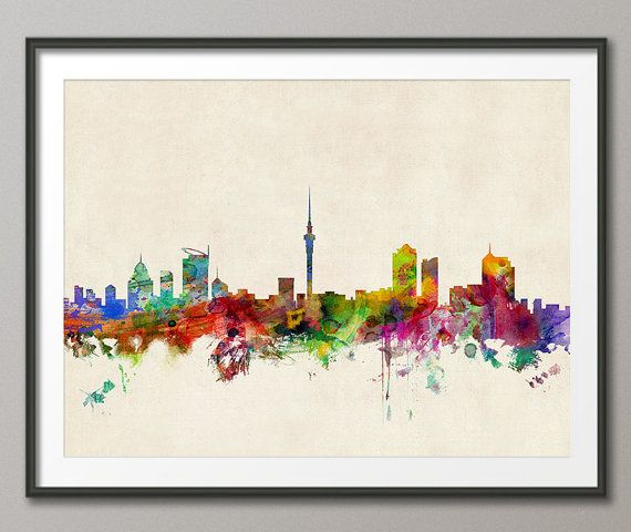 Auckland Skyline New Zealand Art Print 667 by artPause on Etsy, £12.99