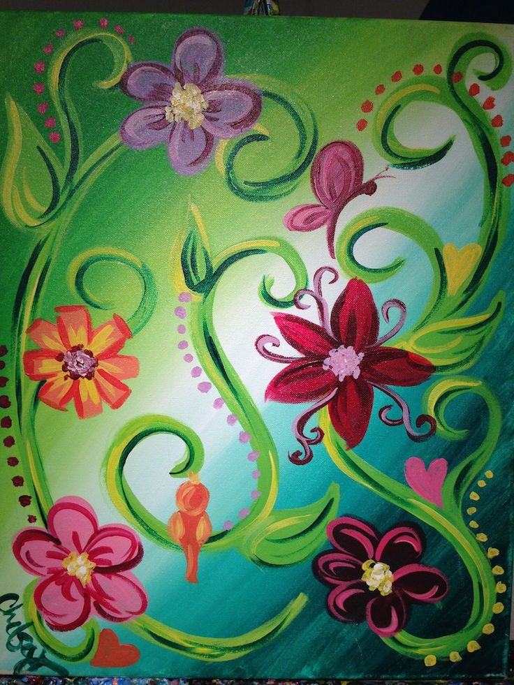 vines... diy canvas idea | Art | Pinterest | Acrylics ...